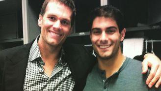 Tom Brady y Jimmy Garoppolo en el vestidor