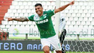 Jefferson Duque celebra gol con Deportivo Cali