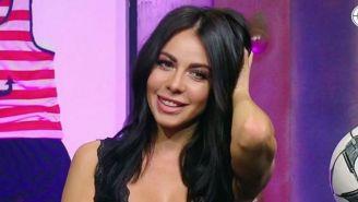 Jimena Sánchez, durante una trasmisión de televisión
