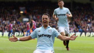 Javier Hernández en festejo de su gol con el West Ham