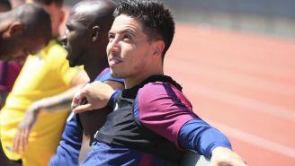 Samir Nasri en un entrenamiento con su club