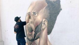 Grafiti de Giles Barnes con el que León anunció su fichaje