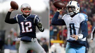 Brady y Mariota, durante un juego de NFL