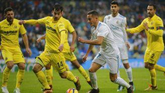 Lucas Vázquez con jugadores del Villarreal en el Bernabéu