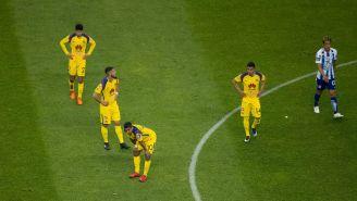 Jugadores del América se lamentan tras el empate contra Tuzos