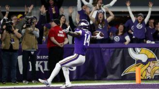 Stefon Diggs, tras conseguir el TD de la victoria para Vikings
