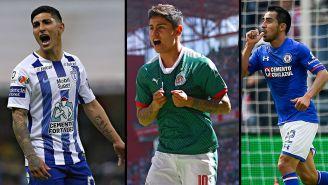 Guzmán, López y Baca celebran un gol con sus equipos