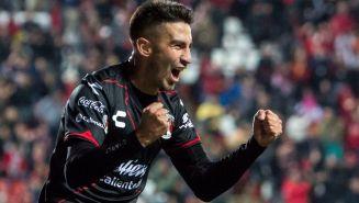 Juan Martín Lucero celebra su gol contra el Puebla
