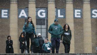 Aficionados de Eagles en las inmediaciones del Museo de Arte dePhiladelphia