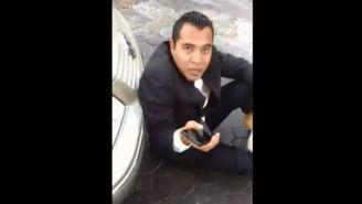Sujeto que supuestamente fue atropellado en Puebla