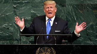 Donald Trump en una conferencia en la ONU