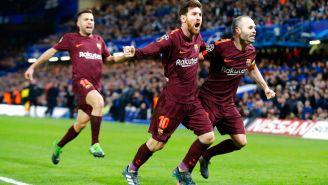 Messi celebra su gol en la Ida de los Octavos