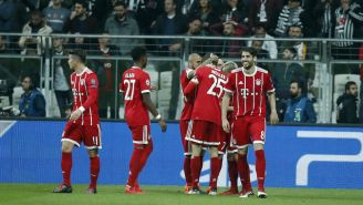 Bayern Munich celebra el gol el primer gol del encuentro