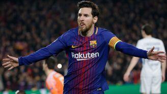 Messi celebra un gol contra Chelsea