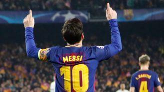 Messi celebra uno de sus goles frente al Chelsea