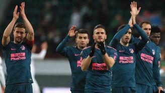 Jugadores del Atlético de Madrid celebran pase a Cuartos