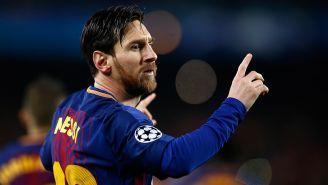 Messi celebra un gol con el Barcelona en Champions League