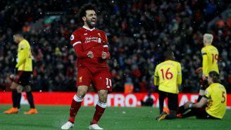 Salah festeja con euforia anotacón contra Watford en Anfield