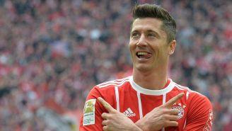 Lewandowski celebra una anotación con el Bayern Munich