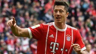 Lewandowski celebra un gol con el Bayern en Alemania