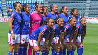 Las jugadoras del Cruz Azul, previo a un partido de la Liga MX Femenil