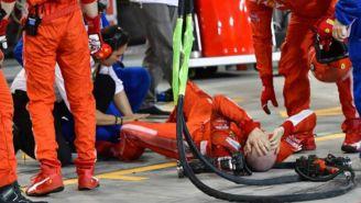 Francesco Cigarini se duele del golpe en el GP