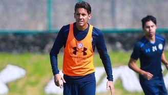 Javier Salas en un entrenamiento de Cruz Azul
