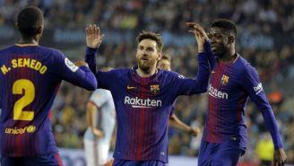 Semedo, Messi y Dembélé, en el juego vs Celta de Vigo