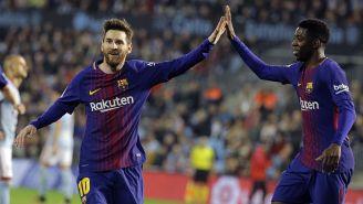 Messi y Dembélé celebran una anotación en La Liga