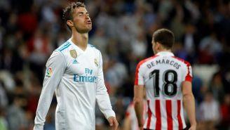 Cristiano Ronaldo reacciona en el partido contra el Athletic