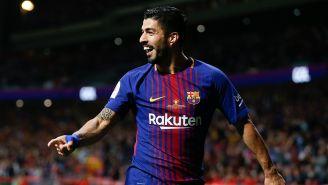 Luis Suárez celebra una anotación en la Final de la Copa del Rey