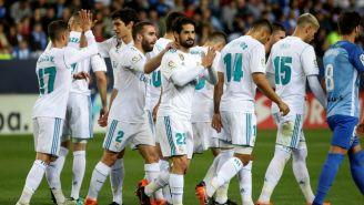 Jugadores del Real Madrid en el juego contra el Málaga