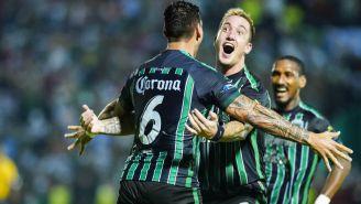 Leonardo Ramos festeja gol contra Leones Negros