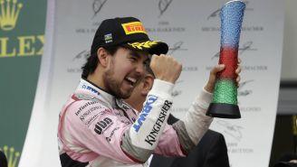 Sergio Pérez festeja su tercer lugar en Azerbaiyán