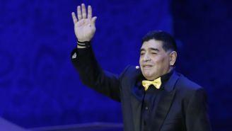 Maradona, durante el sorteo del Mundial de Rusia 2018