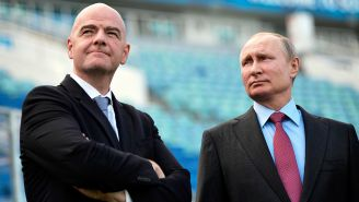Infantino y Putin en el Estadio Olímpico de Sochi