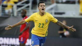 Coutinho celebra gol con Brasil