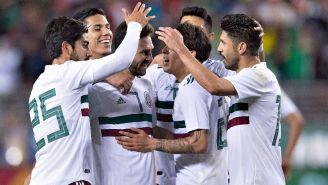 Jugadores de la Selección celebran un gol en un amistoso