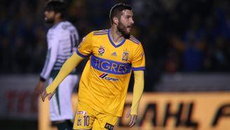 André-Pierre Gignac celebra una anotación con Tigres en el C2018