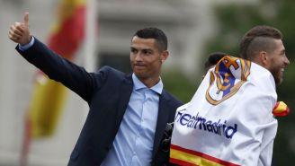 Cristiano Ronaldo, en los festejos del Real Madrid por la Champions