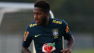 Fred durante un entrenamiento con la Selección de Brasil