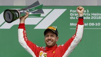 Sebastian Vettel feteja tras ganar el GP de Canadá