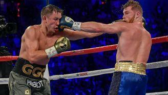 Golovkin y Canelo, durante su primera pelea