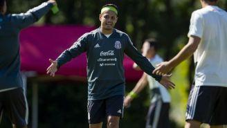 Javier Hernández, en un entrenamiento del Tri