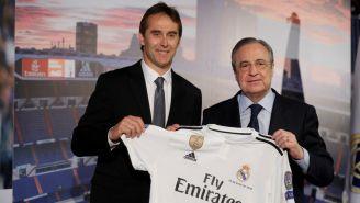 Lopetegui junto a Florentino en su presentación con el Real Madrid