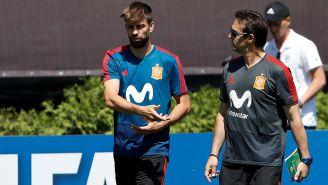 Piqué, durante un entrenamiento con la Selección de España