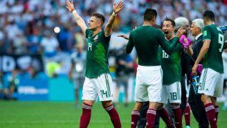 Jugadores del Tri en festejo tras triunfo ante Alemania