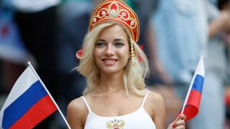 Natalya Nemchinova, en el partido inaugural de Rusia 2018