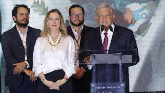 AMLO, durante su discurso en el Hotel Hilton de Reforma