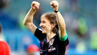 Luka Modric celebra el triunfo de Croacia en Semifinales de Rusia 2018